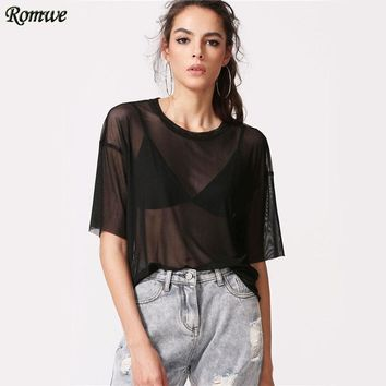 Women Mesh Tops Sexy Drop Shoulder Black Thin Blouse Summer Half Sleeve Casual Plain Tunic Blouse