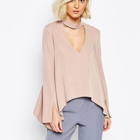 Lavish Alice Blouse with Plunge Neck and Collar Detail at asos.com