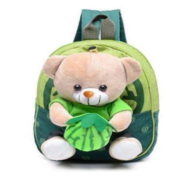 2016 New Cute Kids School Bags Cartoon Bear Dolls Applique Canvas Backpack Mini Baby Toddler Book Bag Kindergarten Rucksacks 656