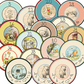 16 Classic Pooh Vintage Pregnancy Maternity Baby Bump New Mom to Be Baby Shower Gift Stickers