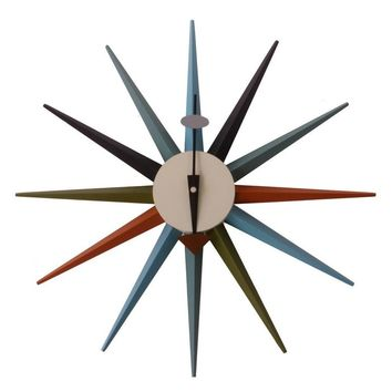 Modern Multicolor Reproduction of George Nelson Sunburst Wall Clock