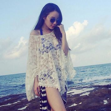 Beach Dresses Lace White Cover-ups Frill Dress Embroidered Shale Women Strap Dress Sexy Charming Designer