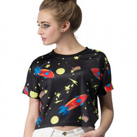 Spaceship and Stars Printed Crop Top