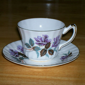 Vintage cup and saucer Purple Roses Royal Kendall England fine bone china collectible tea cup coffee cup home decor tableware kitchenware