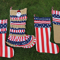 American Flag Stocking  Personalized Stockings USA Christmas Decor Custom Stocing Set READY To SHIP  EXPRESs SHIPPINg