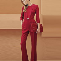 Red Long Sleeve Jumpsuit