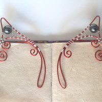 Red & Silver Plated Handmade Wire Wrapped Hematite Elf Ear Cuffs. Wire Weave, Elven Ears, LARP, Fantasy Wedding