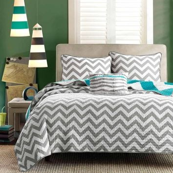 Twin Size Reversible Quilt Set In Grey White Teal Blue Green Chevron Stripe