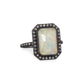 Armenta Old World Midnight Opal & Ice Quartz Triplet Ring with Diamonds