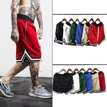 Mesh Material Shorts Loose Side Zippered Patchwork Shorts 6 Colors