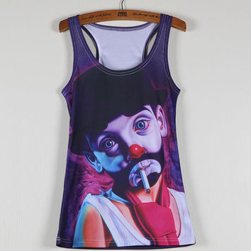 Summer New Women Vests 3D Audrey Hepburn Print Fitness Camisole Leisure Galaxy Tank Tops Shirts Tees