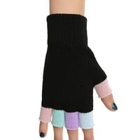 Pastel & Black Multi-Colored Fingerless Gloves