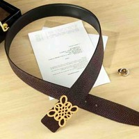 LOEWE Fashion new couple high quality texture belt Coffee