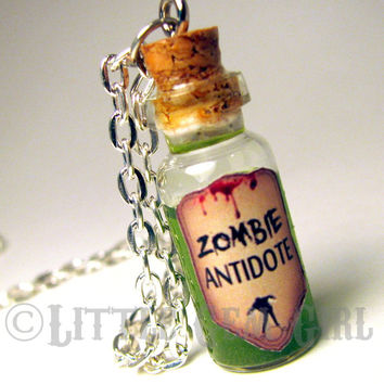 Zombie Antidote Necklace - Dead Jewelry Zombie Jewelry - Glass Bottle Cork Necklace - Anti Virus Potion Liquid Vial Charm - Green Shimmer