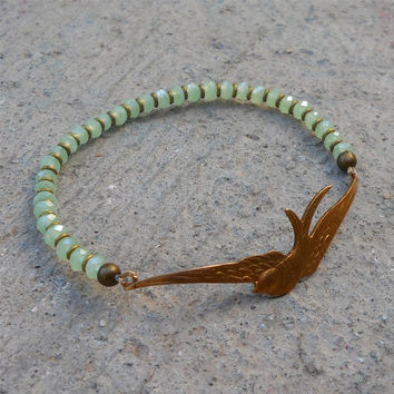 sparrow bangle, agate light green crystal and African trade beads bangle