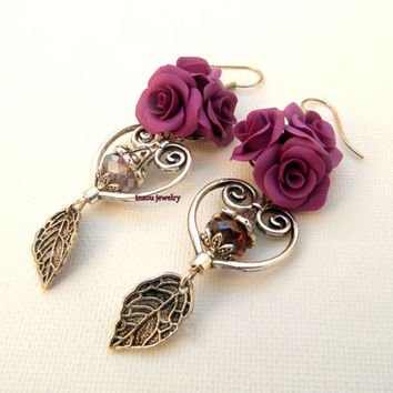 Violet Earrings Flower Earrings Roses Dangle Earrings Ombre Earrings Romantic Jewelry Violet Jewelry Roses Earrings Gift For Her Bridesmaid