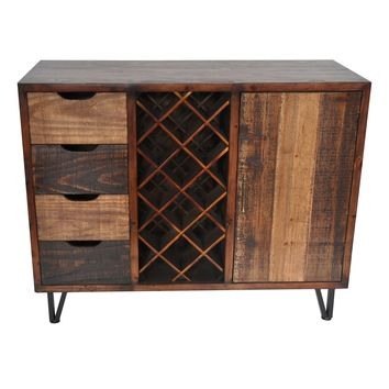 Sturtevant 4 Drawer / 1 Door Stylish Rustic Wine Cabinet By Crestview Collection Cvfzr1905