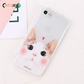 CASEIER 3D Cute Cat Dog Relief Case For iPhone 6 7 Plus 5 5s Slim Lovely Animal Soft Silicone Case For Samsung Galaxy S6 S7 Edge