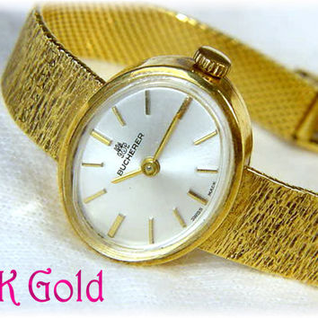 Bucherer - Swiss 18K Solid Gold Vintage Ladies Watch with 18K Gold Band 26 Grams