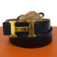 Auth HERMES Constance H Buckle Reversible Belt Leather #75 Black Brown 65ED546