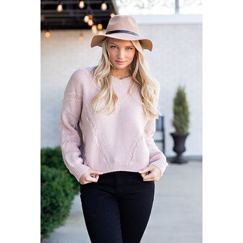 Time For Flurries Long Sleeve Sweater : Mauve