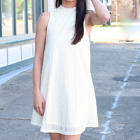 Perforated Lace High Neck Swing Dress {Cream}