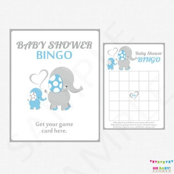 Blue Elephant Baby Shower Games, Bingo, Blue Gray Elephant Baby Shower Game, Boy Baby Shower, Baby Bingo, Printable INSTANT DOWNLOAD ELLBG