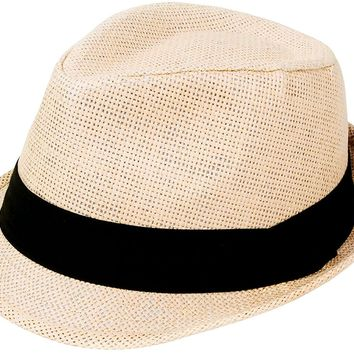 AbbyLexi Men/Women Outdoors Summer Short Brim Straw Fedora Sun Hat