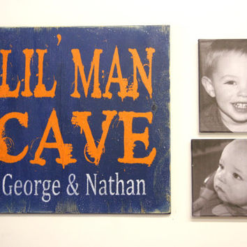 Lil Man Cave Toyroom Sign Boys Bedroom Wood Sign Personalized Boys Wood Sign Blue and Orange Boys Bedroom Decor Distressed Wood Sign