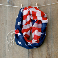 4th of July Vintage American Flag Infinity Scarf USA Cute Scarf Womens Scarf Loop Scarf  Braided Hemp Rose Cuff Stars Stripes Red White Blue