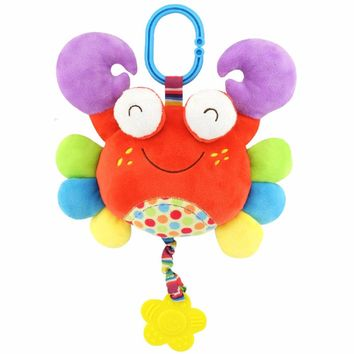 Quality Soft Baby Toys Crab Rattles Plush Teether Toys  baby teether hanging strollers Bell ring Toys Gift
