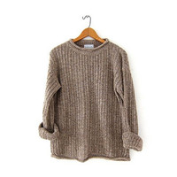 vintage loose knit sweater. speckled brown sweater. womens sweater. small