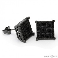 King Ice Black 925 Concave Square CZ Earrings