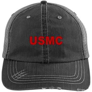 USMC BLOCK LETTERS : RED : 6990 Distressed Unstructured Trucker Cap