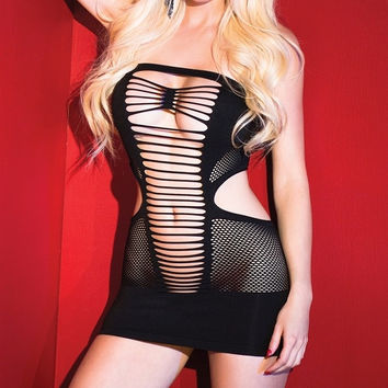 Black Fishnet ; Shredded Dress in OS