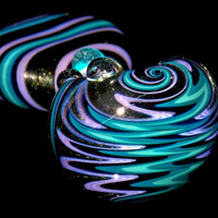 Purple Haze Twilight Craze Wig Wag Glass Spoon Bowl - Heady Mini Glass Smoking Pipe with Electric Colors and Sparkly Night Black Switchback
