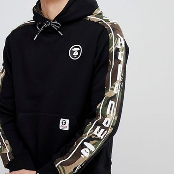 AAPE By A Bathing Ape Hoodie With Logo Taping at asos.com