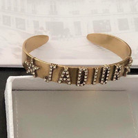 Dior new full diamond lettered open bracelet
