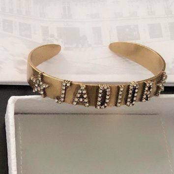 Free shipping-Dior new full diamond lettered open bracelet