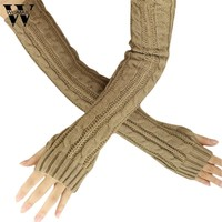 Amazing 1 Pair Fashion Winter Women Girl Fingless Knit Long Gloves