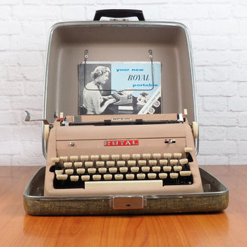1956 Royal Quiet Deluxe Portable Typewriter with Case and Instruction Manual // Tan with Ivory Keys