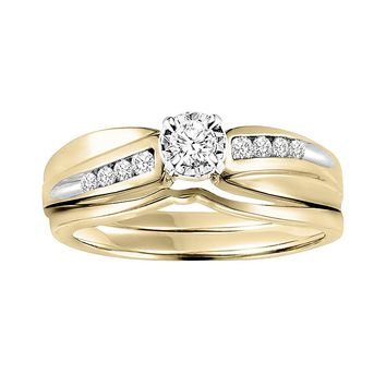 Cherish Always Round-Cut Diamond Engagement Ring Set in 14k Gold Two Tone (1/5 ct. T.W.)