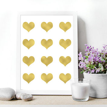 "Printable Wall art Poster. Gold LOVE Hearts. Digital file , 8.5""x11""inch .Instant Download ,valentine quote , home Decor, mokileArt Design"