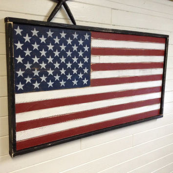 American Flag Sign Patriotic USA Wood Wall Art 50 Stars Home Decor by CastawaysHall
