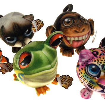 Novelty Fur Balls Photo Animal Plush Stuffed Lot of 5 Fish Cat Frog Monkey Tiger