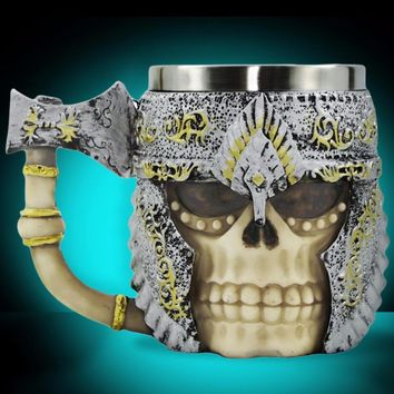 1Piece 3D Axe Handle Viking Warrior Skull Mug