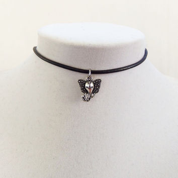 Dainty elephant necklace Leather choker with Tibetan boho elephant head charm
