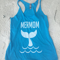 Mermom mermaid racerback tank, boat, Music, Funny Tank, Shirt, Gym, Tank, Yoga Top, hot yoga, summer, vacation, birthday party, gift