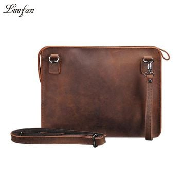 Men's Crazy horse leather clutch bag vintage genuine leather handbag high quality iPad casual shoulder bag messenger bag