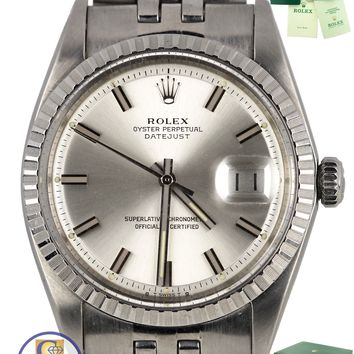 Vintage 1973 Rolex DateJust 36mm 1603 Stainless Steel Silver Jubilee Watch 16030